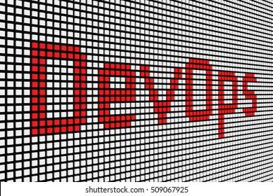 DevOps in the form of scoreboard 3D illustration