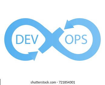 DevOps logotype. Sign of infinity with arrows blue.  flat illustration
