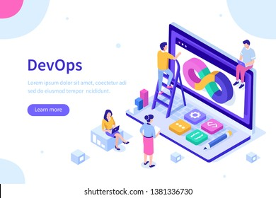 Devops at work concept. Can use for web banner, infographics, hero images. Flat isometric illustration isolated on white background.