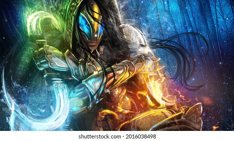 A dexterous shaman woman in a dynamic pose dodges an attack in the middle of an icy forest, in her hands double-sided daggers allow her to control all four elements: fire, earth, wind and water. 2d