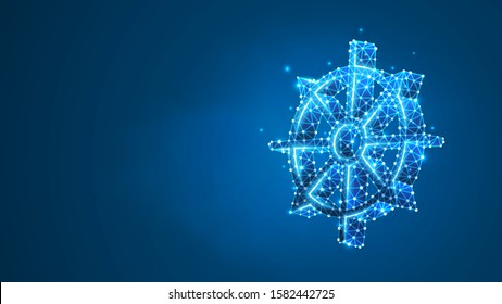 Dharma Wheel of Fortune, Spirituality, Buddhism. Steering or fate wheel. Abstract digital wireframe, low poly mesh, polygonal Raster blue neon 3d illustration. Line, dot