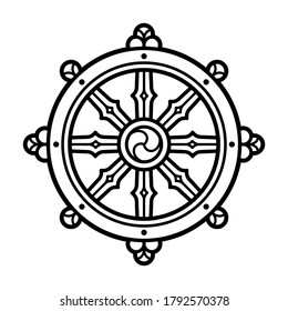 Dharmachakra (Dharma Wheel) symbol in Buddhism. Black and white line icon, tattoo design. Isolated clip art illustration.