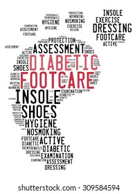 Diabetes foot care word collage concept.