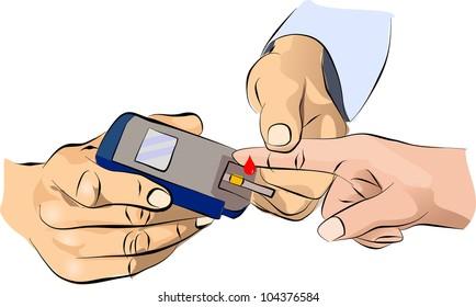 Diabetes measurement glucose sugar level blood test for diabetic patient
