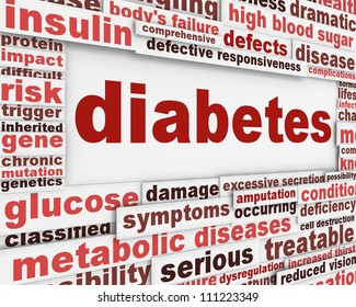 Diabetes medical poster design. Health care message conceptual design