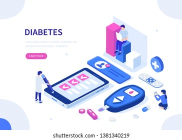 Diabetes monitoring concept. Can use for web banner, infographics, hero images. Flat isometric illustration.