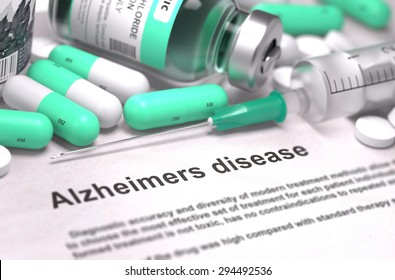 Diagnosis - Alzheimers Disease. Medical Report with Composition of Medicaments - Light Green Pills, Injections and Syringe. Blurred Background with Selective Focus.