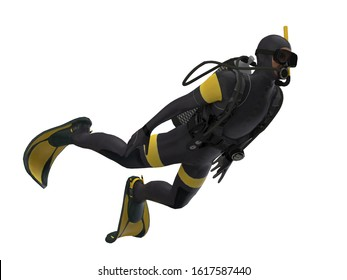 Diagonal view of isolated scuba diver white background ready cutout 3d rendering