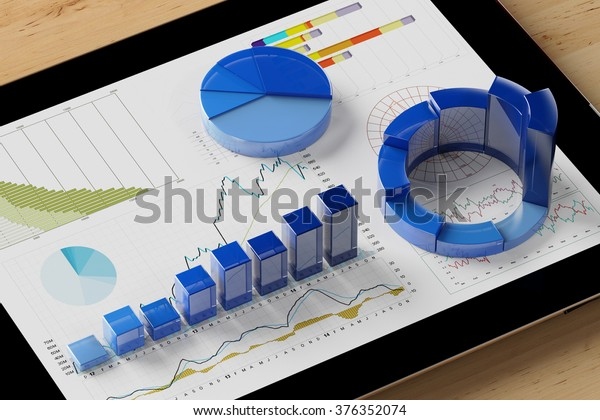 Diagram analysis with many colorful charts on a tablet computer (3D Rendering)