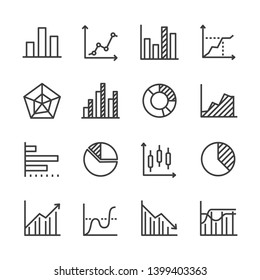 Diagram and analytics data line icon set
