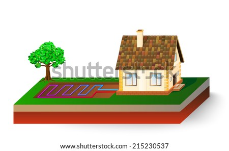 Diagram House Receiving Geothermal Energy Heat Stock Illustration