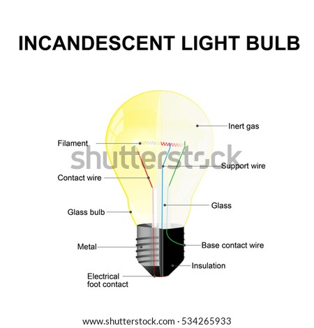 diagram showing parts modern incandescent light stock illustrationdiagram showing the parts of a modern incandescent light bulb labeled