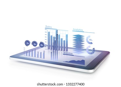 Diagrams concept with tablet 3d illustration