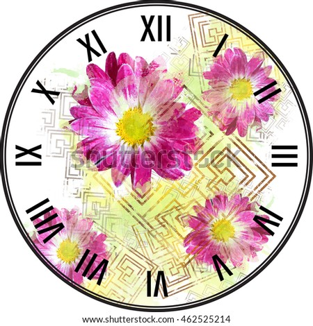 Dial Floral Template Clock Face Distressed Stock Illustration ...