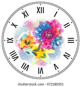 Dial Floral Template Watercolor Effect Clock Stock Illustration ...