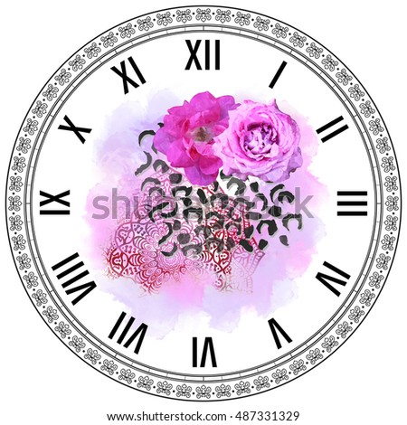 Dial Floral Template Watercolor Effect Vintage Stock Illustration ...