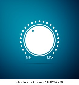 Dial knob level technology settings icon isolated on blue background. Volume button, sound control, music knob with number scale, analog regulator. Flat design
