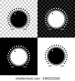 Dial knob level technology settings icon isolated on black, white and transparent background. Volume button, sound control, music knob with number scale, analog regulator