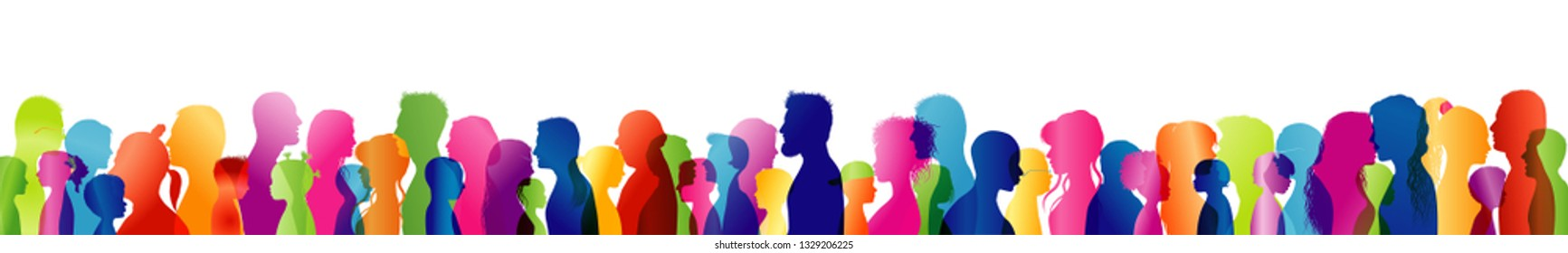 Dialogue between different people of different ages and multi-ethnic. Silhouette colored profile heads. People talking. Talking crowd. Multiple exposure