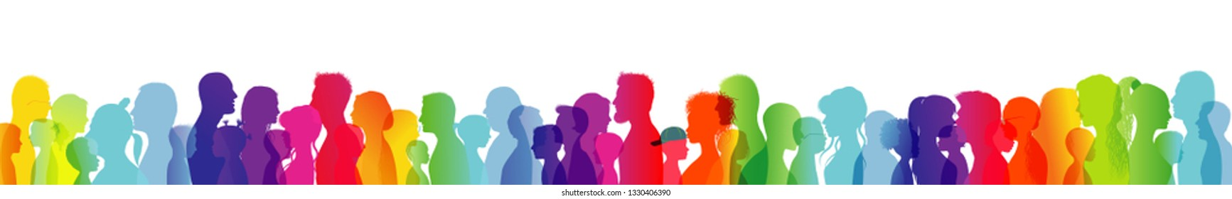 Dialogue between people of different ages and ethnic groups. Crowd talking. Rainbow colored profile silhouette. Many different people talking. Diversity between people. Multiple exposure