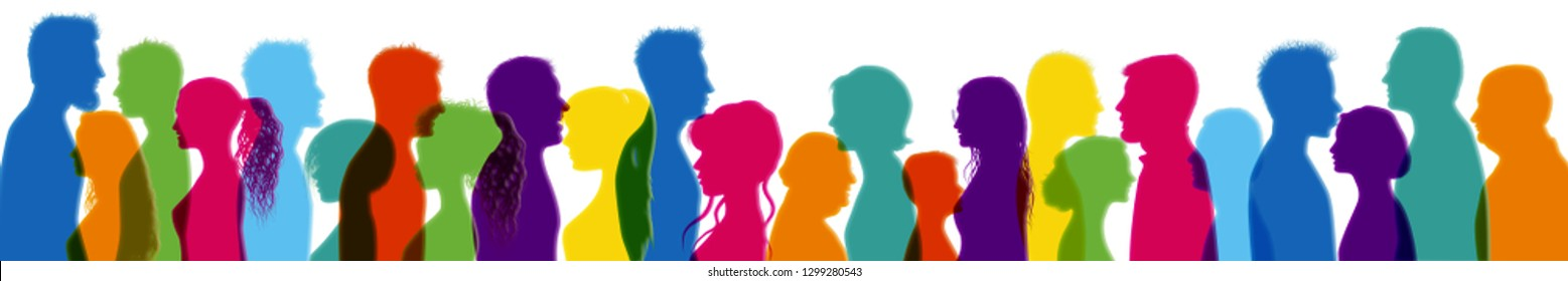 Dialogue between people. Talking crowd. Colored isolated silhouette profiles. People talking. People of different cultures. Communication