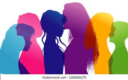 Dialogue between women. Women talking. Conversation between women. Colored silhouette profiles. Multiple exposure