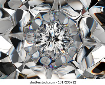 diamond Abstract structure extreme closeup and kaleidoscope. top view of round gemstone 3d render, 3d illustration