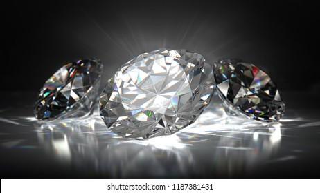 Diamond in bright light on black background. 3D illustration.