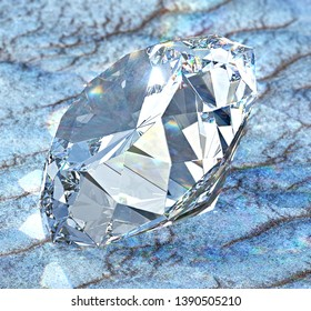 Diamond with caustic light on sand. 3D illustration
