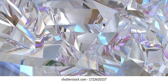 Diamant-Nahaufnahme-Muster und Kaleidoskop-Effekt. Draufsicht von rundem Edelstein (3D-Abbildung)