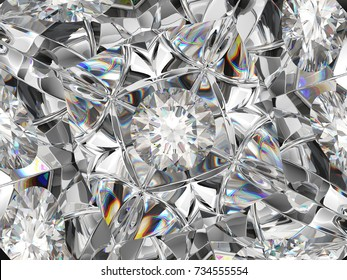 diamond closeup pattern and kaleidoscope effect. top view of round gemstone 3d render, 3d illustration