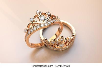 diamond crown ring 3D rendering