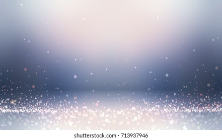 Diamond dust stripes on smooth shiny floor in 3d studio background. Winter interior template. Snow glitter texture.