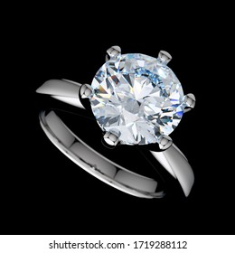 Diamond engagement ring closeup view isolated on black background. 3D illustration
