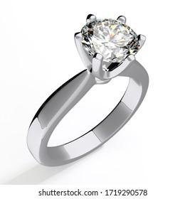 Diamond engagement ring isolated on white background. 3d illustration