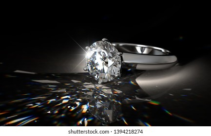 Diamond engagement ring in spotlight with colorful  caustics rays on black background. 3D illustration