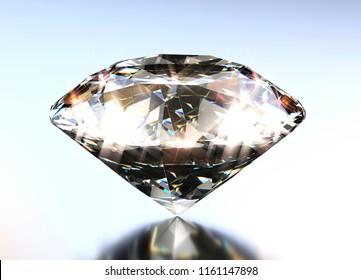 Diamond glowing on a blue glossy metallic background. 3d illustration