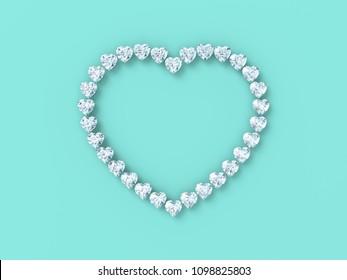 Diamond heart shape on tiffany blue background. 3D rendering illustration