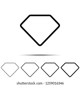 Diamond icon in different shapes, thickness. Simple outline illustration of web for UI and UX, website or mobile application