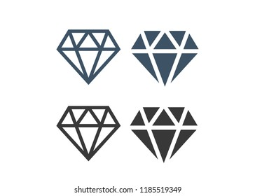 Diamond icons set. Diamond sign set