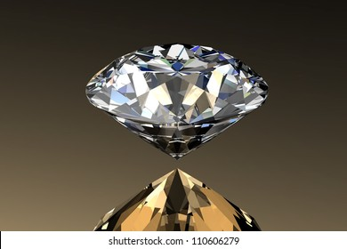 Diamond jewel with reflections on gold background