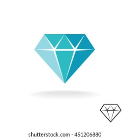 Diamond logo. Blue diamond symbol. Jewelery shop sign.