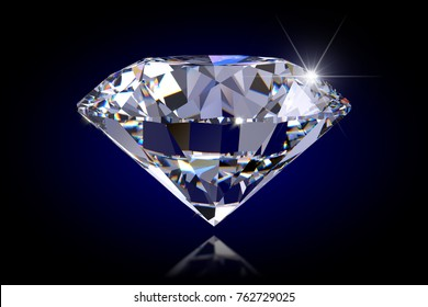 Diamond on black glossy background. Side macro view. 3D rendering illustration