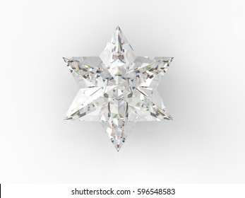 Diamond  [One star]on white -3d rendering