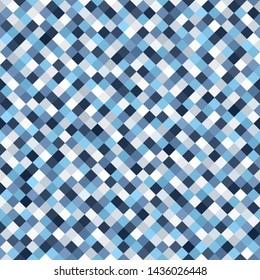 Diamond pattern. Seamless background with blue, gray and white square diamonds