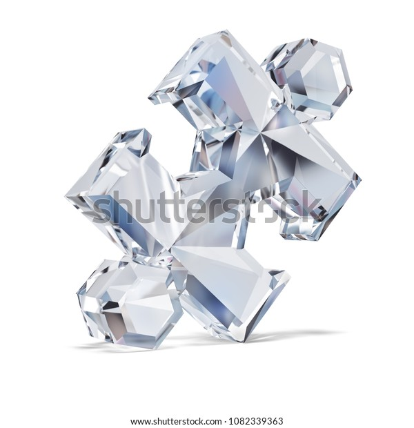 Diamond puzzle. 3d image. White background.