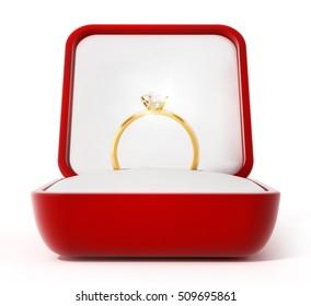 Diamond ring inside open red box. 3D illustration.