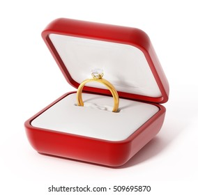 Diamond ring inside open red box. 3D illustration.