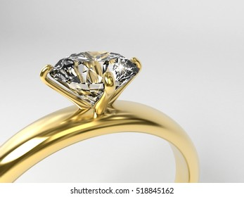 Diamond ring section isolated on white background, 3d illustration.