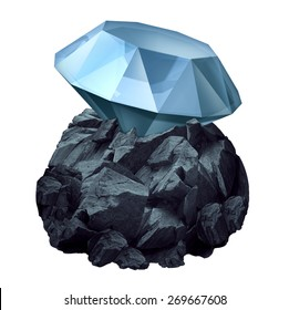 Diamond in the rough as a shiny precious gem hidden in a chunk of jagged rock  as a business symbol and character metaphor for discovery of future potential for success and the value or power within.